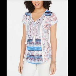 STYLE&CO MIXED PRINT PEASANT TOP